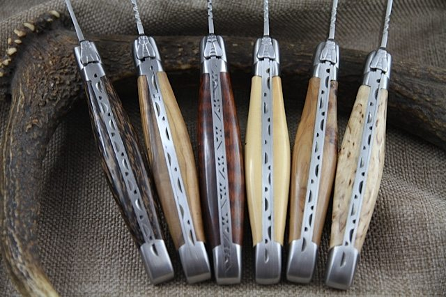 6 French Laguiole Steak Knives In Different Wood Handle